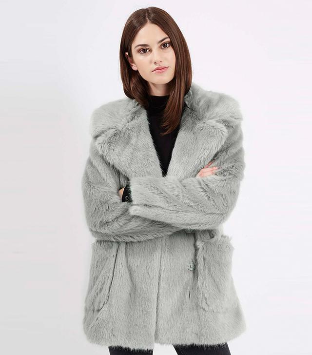Topshop Patch Pocket Luxe Fur Coat
