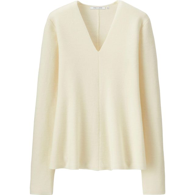 Uniqlo x Lemaire Milano Rib Flare V-Neck Sweater
