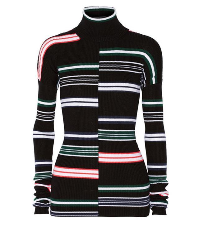 Kenzo Striped Ribbed Wool Turtleneck Sweater