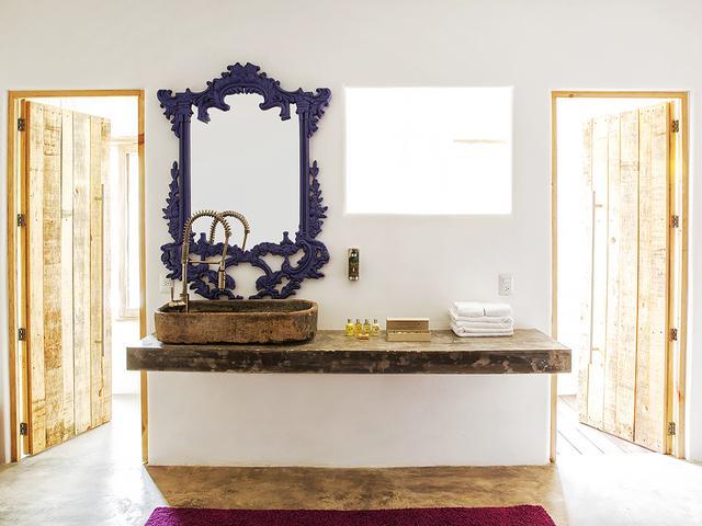 We love the rustic-meets-glam bathrooms at Casa Malco.  Casa Malco |Carretera Fed.Tulum-Boca Paila Km 10.5, Tulum