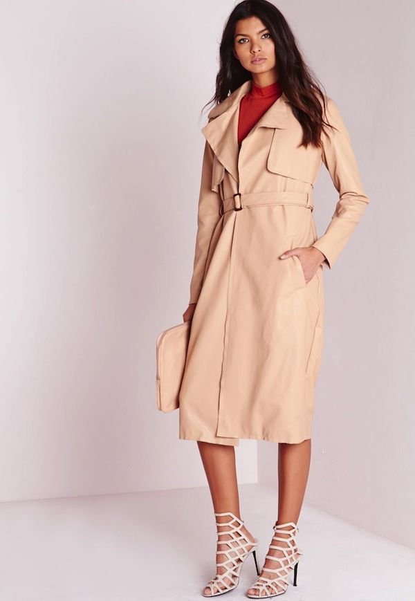Missguided Faux Leather Trench Coat Nude