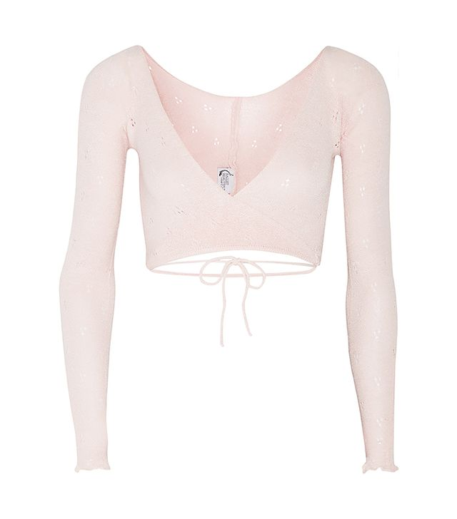 Ballet Beautiful Belle Wrap-Front Knitted Jersey Top