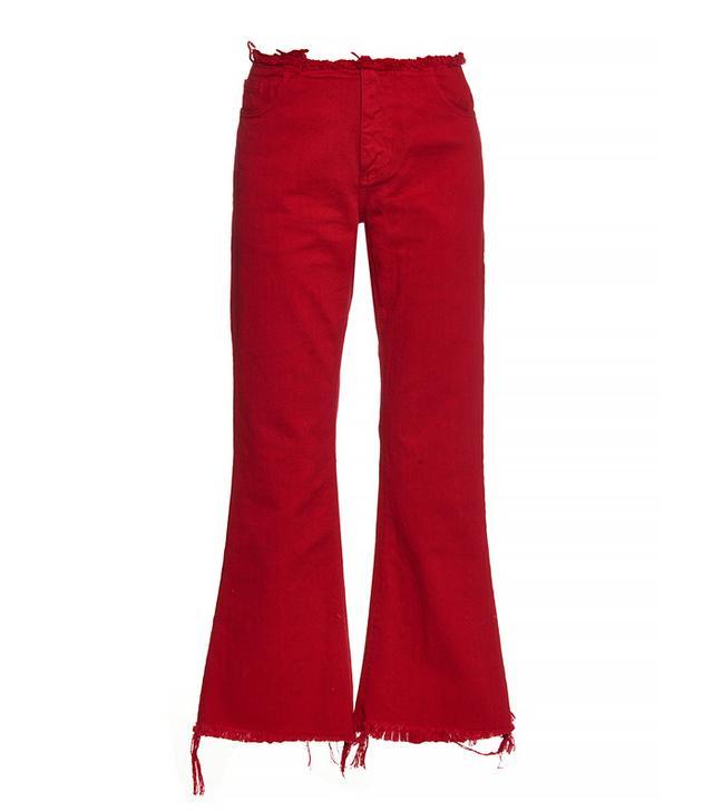 Marques' Almeida Capri Frayed-Edge Flared Jeans