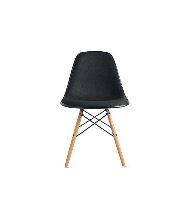 Eames Molded Fiberglass Upholstered Dowel-Leg Side Chair