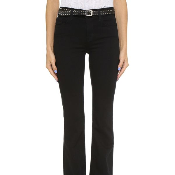 J Brand Maria High Rise Flare Jeans in Seriously Black