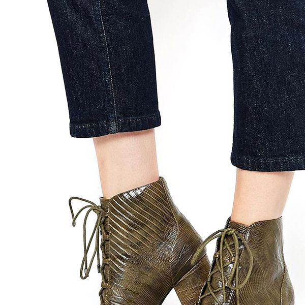 ASOS Retrospect Lace Up Ankle Boots in Khaki Snake