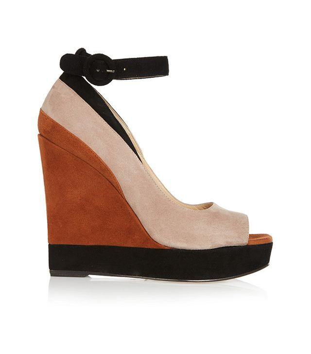 Paul Andrew Whitney Color-Block Wedge Sandals