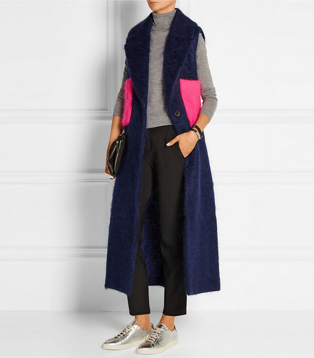 MSGM Belted Two-Tone Mohair-Blend Gilet