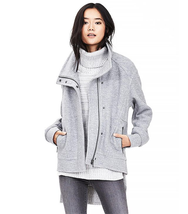 Banana Republic Gray Cocoon Zip Jacket