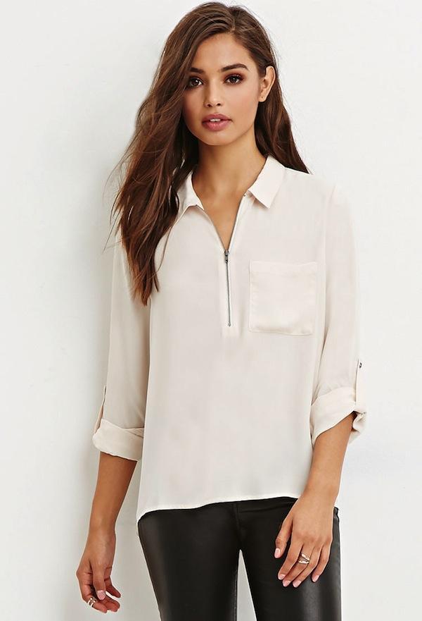 Forever 21 Zip-Front Pocket Shirt