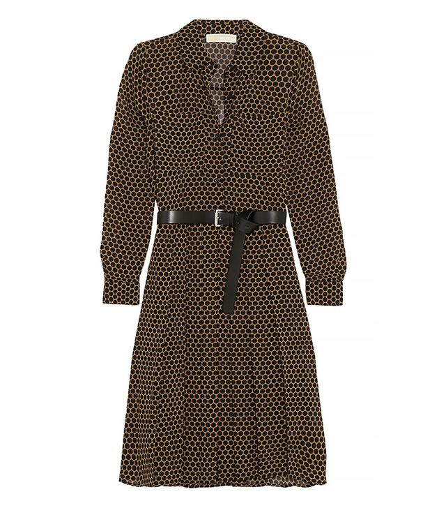 Michael Michael Kors Belted Polka-Dot Chiffon Shirt Dress