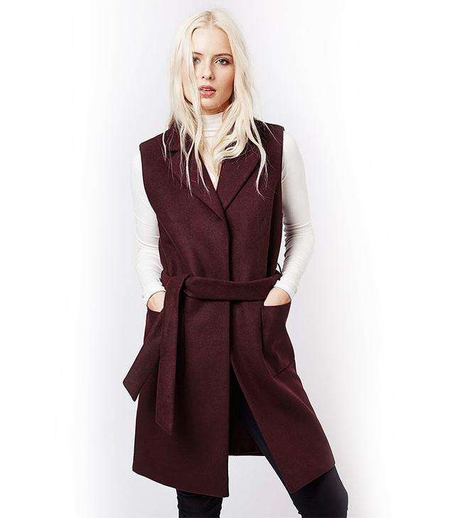 Topshop Sleeveless Belted Coat