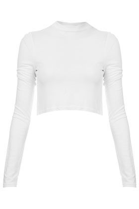 Topshop Polo Neck Long Sleeve Crop