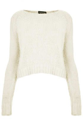 Topshop Knitted Fluffy Crop Jumper