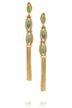 Aurelie Bidermann  Sunset Gold Plated Turquoise Clip Earrings