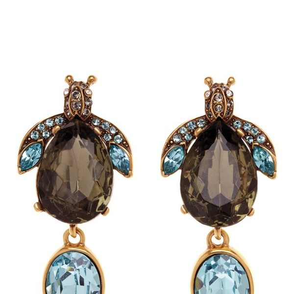 Oscar de la Renta  Bejeweled Bug Crystal Earrings