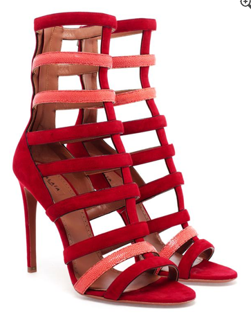 Azzedine Alaïa Suede and Stingray Caged Strappy Sandals