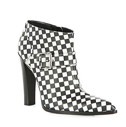 Altuzarra Checkerboard-Print Leather Ankle Boots