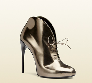 Gucci Metallic Leather Lace-Up Booties
