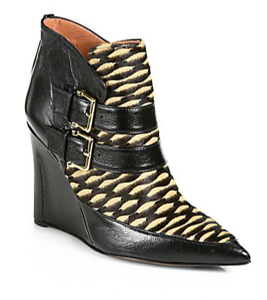 Derek Lam Marta Calf Hair & Leather Wedge Ankle Boots