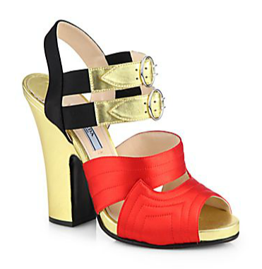 Prada Bicolor Metallic Leather & Satin Platform Sandals