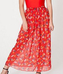 American Apparel Floral Chiffon Full Length Skirt