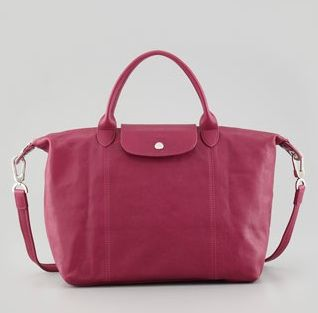 Longchamp Le Pliage Small Leather Handbag in Fuchsia