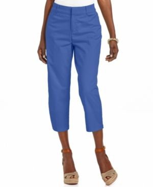 JM Collection Pants Straight-Leg Cropped Twill Capris