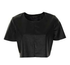 Topshop  Petite Leather Look Crop Top