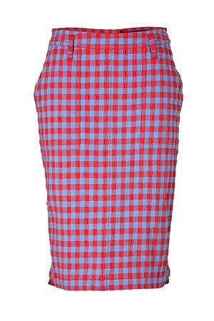 Marc By Marc Jacobs  Coral Red/Multi Cotton Molly Check Skirt