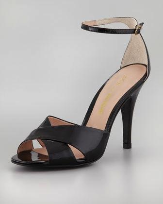 Pour la Victoire  Patent Ankle Strap Sandals