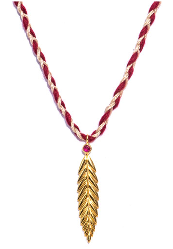Jade Jagger Ruby Gold-Plated Feather Necklace