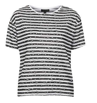 Topshop Distressed Stripe Tee