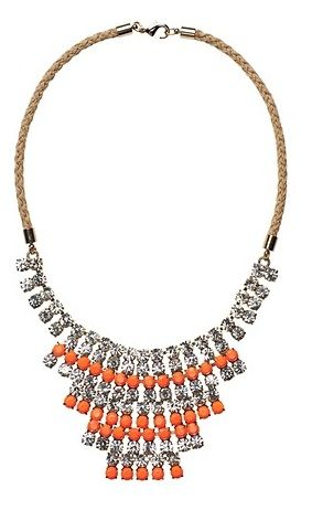 LOFT Short and Coral Stone and Crystal Necklace