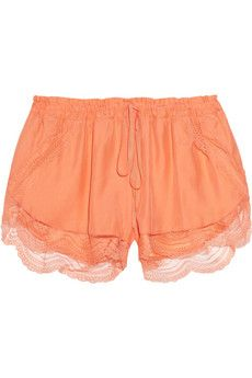 Lover  Lace-Trimmed Silk Shorts