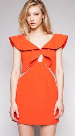 Three Floor  Orange Crush Ruffle Dress