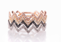 EF Collection Diamond Zig Zag Ring In Yellow Gold
