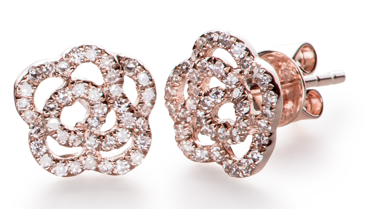 EF Collection Diamond Rose Stud In Rose Gold