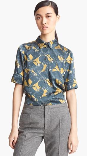 Marc Jacobs Disco Panther Print Silk Shirt