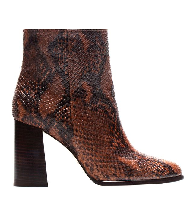 Massimo Dutti Snake-Print Ankle Boots