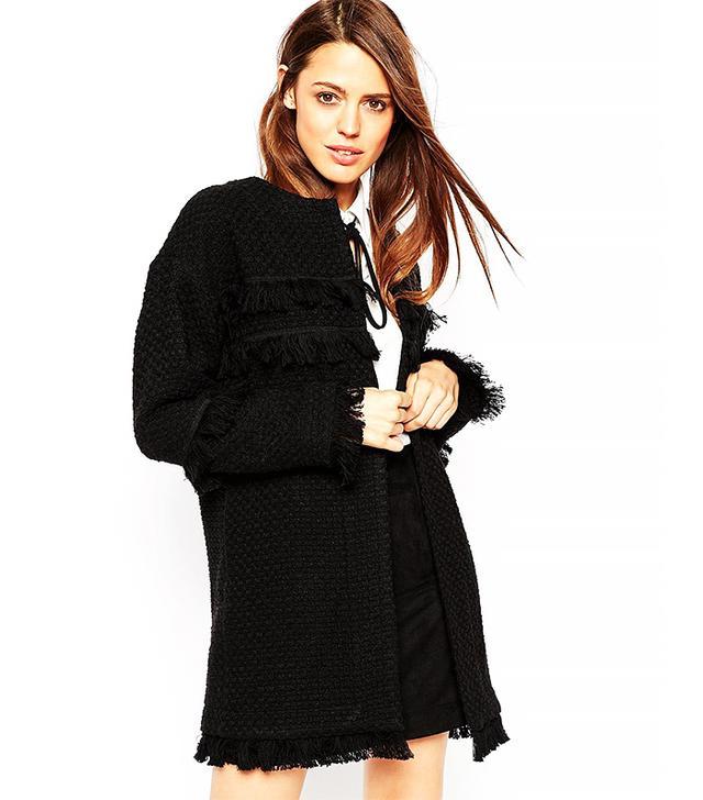 ASOS Longline Textured Jacket With Fringe