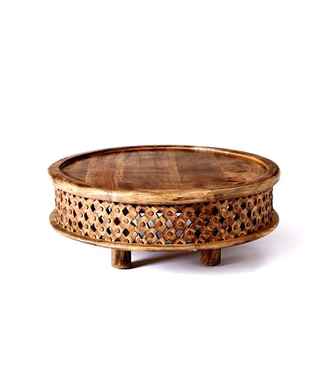 West Elm Carved Wood Coffee Table