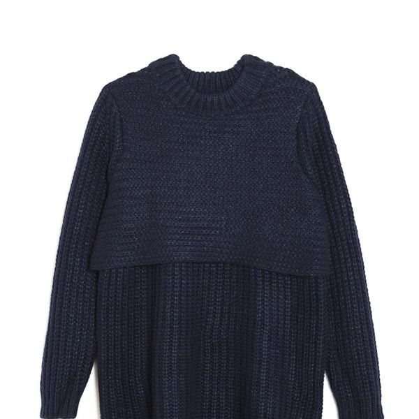 Mason Knit Tunic Sweater in Navy