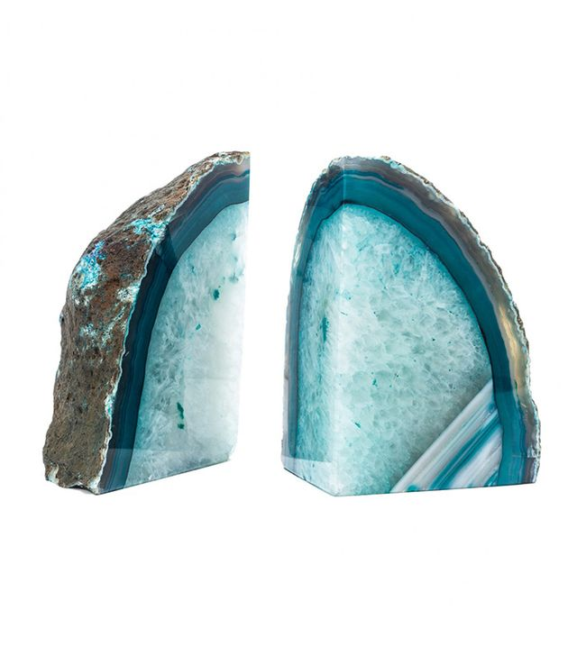 Gal Meets Glam x BaubleBar Blue Agate Bookends