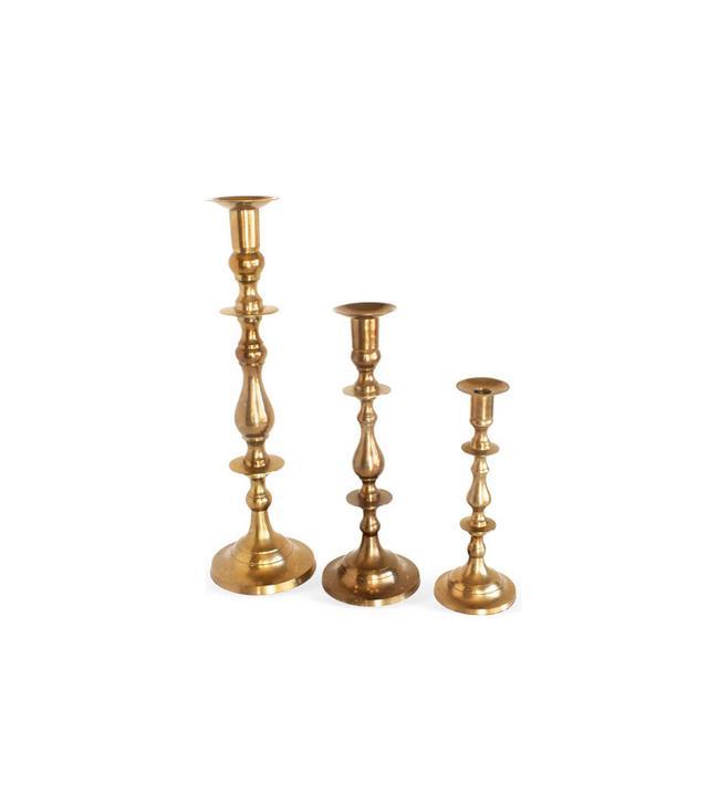 One Kings Lane Brass Candlesticks Set of 3