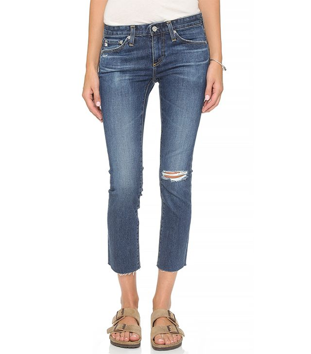 AG The Stilt Raw Hem Crop Cigarette Jeans