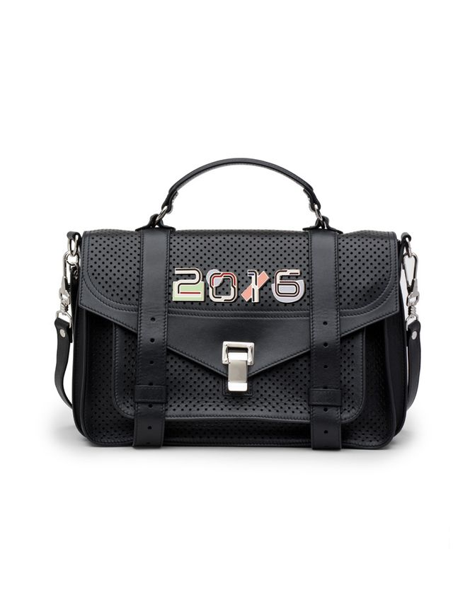 Proenza Schouler Black Perforated Leather PS1 Medium Bag