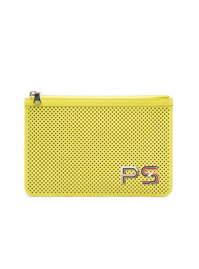 Proenza Schouler Sulphur Perforated Leather Medium Zip Pouch