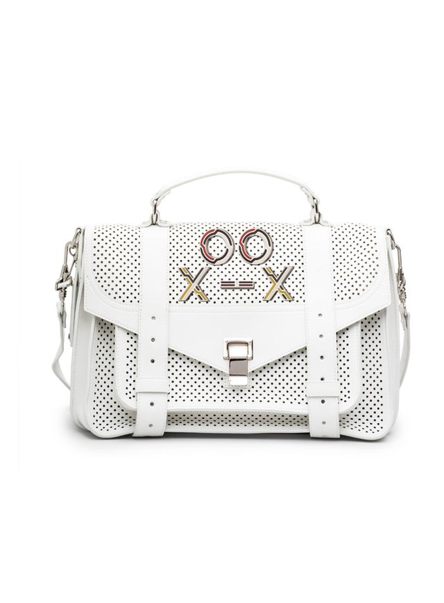 Proenza Schouler Optic White Perforated Leather PS1 Medium Bag