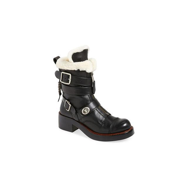 COACH Zip Moto Genuine Shearling Boot